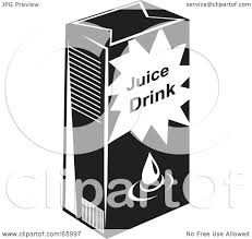 Royalty Free RF Clipart Illustration of a Black And White Juice Box Carton by Prawny
