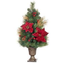 Gold Glitter Cedar And Mixed Pine Porch Tree With Burgundy Poinsettias