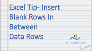Insert Blank Row After Every Data Row In Excel Excel Tip YouTube