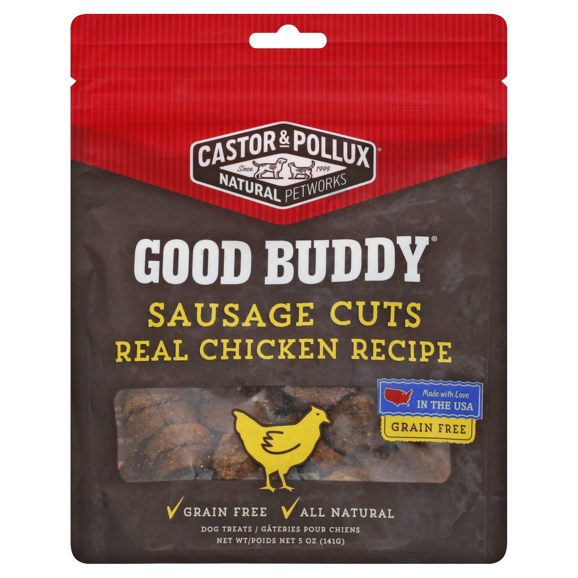 Castor & Pollux Good Buddy Sausage Cuts Real Chicken Recipe Pet Snacks - 5oz, Pack of 6
