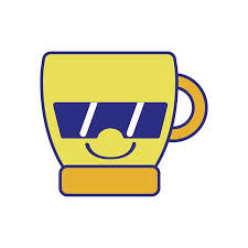Full Color Happy Coffee Cup Kawaii With Sunglasses Vector Illustration