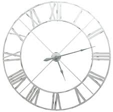 Large Chrome Wall Clock Extra Distressed Pale Grey Contemporary Skeleton Metal La Chic Furniture Company Very