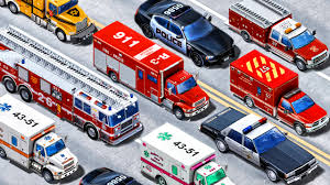 100 Emergency Truck Learning Vehicles Names And Sounds Vehicles Police Car