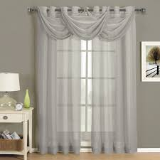 Waterfall Valance Curtain Set by Amazon Com Abri Gray Silver Grommet Crushed Sheer Curtain Panel