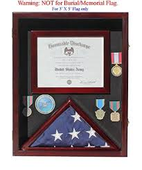 Military Shadow Box 3X5 Flag Display Case For Certificate Medals FC17MAH