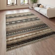 kurzflor teppich ethno muster teppich braun beige teppich