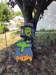 Halloween Witch Yard Stakes by Halloween Wood Decoration Halloween Yard Decor Witch Decor