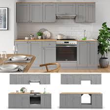 vicco küchenzeile cambridge 240cm landhaus stil einbauküche komplettküche küche grau inkl herdumbauschrank
