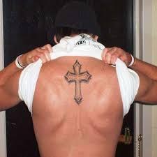 Cross Tattoo On Upper Back