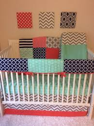 Coral And Mint Baby Bedding by Coral Navy Mint And Gray Baby Bedding A Personal Favorite From