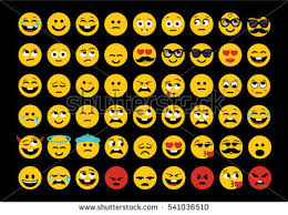 Emoji Set Face Expressions Vector Drawing On The Black Background