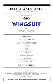 Phish Bathtub Gin Chords by Phishbill Program Tracklist For Wingsuit By Phish Debut At