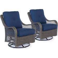 100 Navy Blue Rocking Chair Hanover Orleans Set Of 2 Steel With Cushion