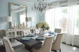 Dining Room With Crystal Chandelier And World Market Linen Lydia Chairs Restoration Hardware Trestle Table