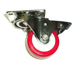 Stainless Steel Swivel Caster W/ Red Non-Marking 3