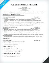 Security Officer Resume Doc Guard Sample Resumes Templates