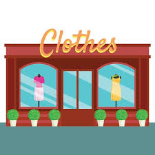 Clothes Shop And Store Building Front Flat Style Vector Illustration