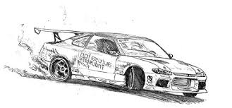 King Of Drifting Cars Colouring Page