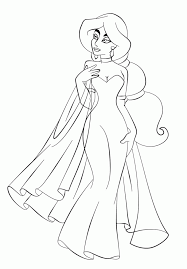 Jasmine In Beautiful Dress Coloring Page