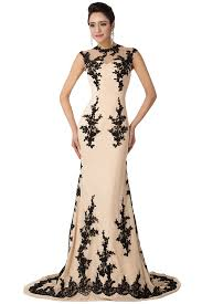sunvary champagne and black mermaid mother of the bride dress