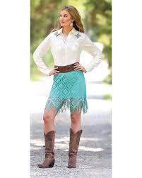 wrangler turquoise crochet fringe western skirt sheplers