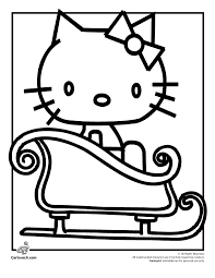 Hello Kitty Christmas Coloring Page Cartoon Jr