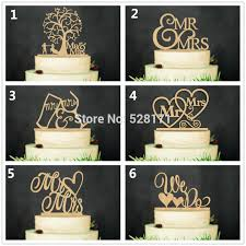6pcs Lot Eco Friendly We Do Mr MrsWooden Wedding Cake Topper Rustic Stand Natural Wood Toppers Supplies In Decorating