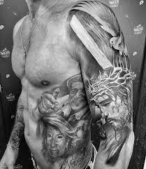 Jesus With Wood Cross Mens 3d Half Sleeve Tattoos