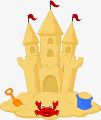 Beach Sandcastle Line Art Isolated On A White Background Vector