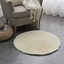sanat teppich rund beige hochflor größe 80x80 cm