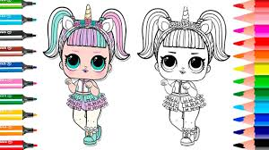 NEW Unicorn LOL Surprise Doll How To Draw Coloring Page Color Me Bon