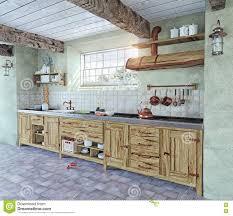 cuisine a l ancienne intérieur à l ancienne de cuisine illustration stock