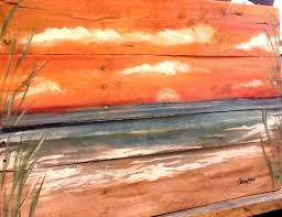 Large Pallet Beach Sunset Painting Pletely