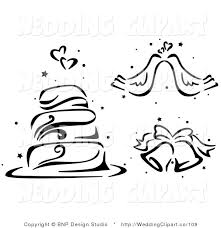 Vector Cartoon Marriage Clipart of a Black and White Wedding Cake Doves and Bells