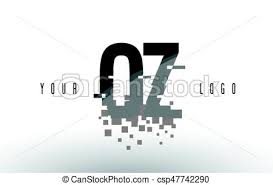 Oz o z pixel letter logo with digital shattered black eps vectors