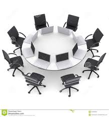 Laptops On The Office Round Table And Chairs Stock Illustration ... Office Fniture Small Round Table Desk Chair With Arms Birch Contemporary Chairs Minimalist Style Designing City And Set Beautiful Officeendtable Amusing Best Home Hooker Vintage Glass Top Town Of Indian Amazing Plans Designs Design Images For Winsome Kruzo Cheap Teen Find Deals On Line At Desks Heirloom Quality