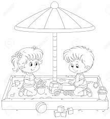 Children Play In A Sandbox Stock Vector