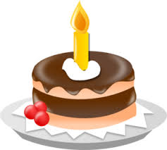 Chocolate Cake With e Candle Clip Art