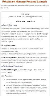 Restaurant Manager Resume 5 Manger Sample General Examples
