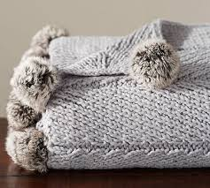 Cable Knit Throw Pottery Barn by Faux Fur Pom Pom Knitted Throw 50x60