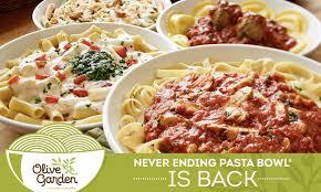 Never Ending Pasta Bowl at Olive Garden Home