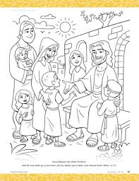 Projects Idea Jesus And The Children Coloring Page Blesses Little