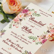 Beautiful Personalised Wedding Day Invitation With Rustic Flowers And Cream Background