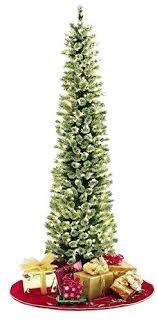 Pre Lit Pencil Christmas Tree Soft Feel Artificial 7 Ft Foot Narrow Slim Pine