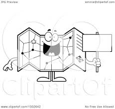 Lineart Clipart of a Cartoon Black and White Happy Road Map Atlas