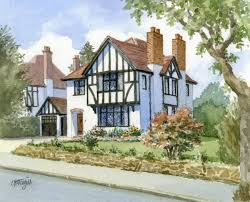 Mock Tudor House Photo by House Portraits Archives Chris Fothergill Architectural Artist