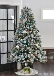 Pre Lit Flocked Christmas Tree Canada by Our Teal Green Silver And White Vintage Inspired Flocked