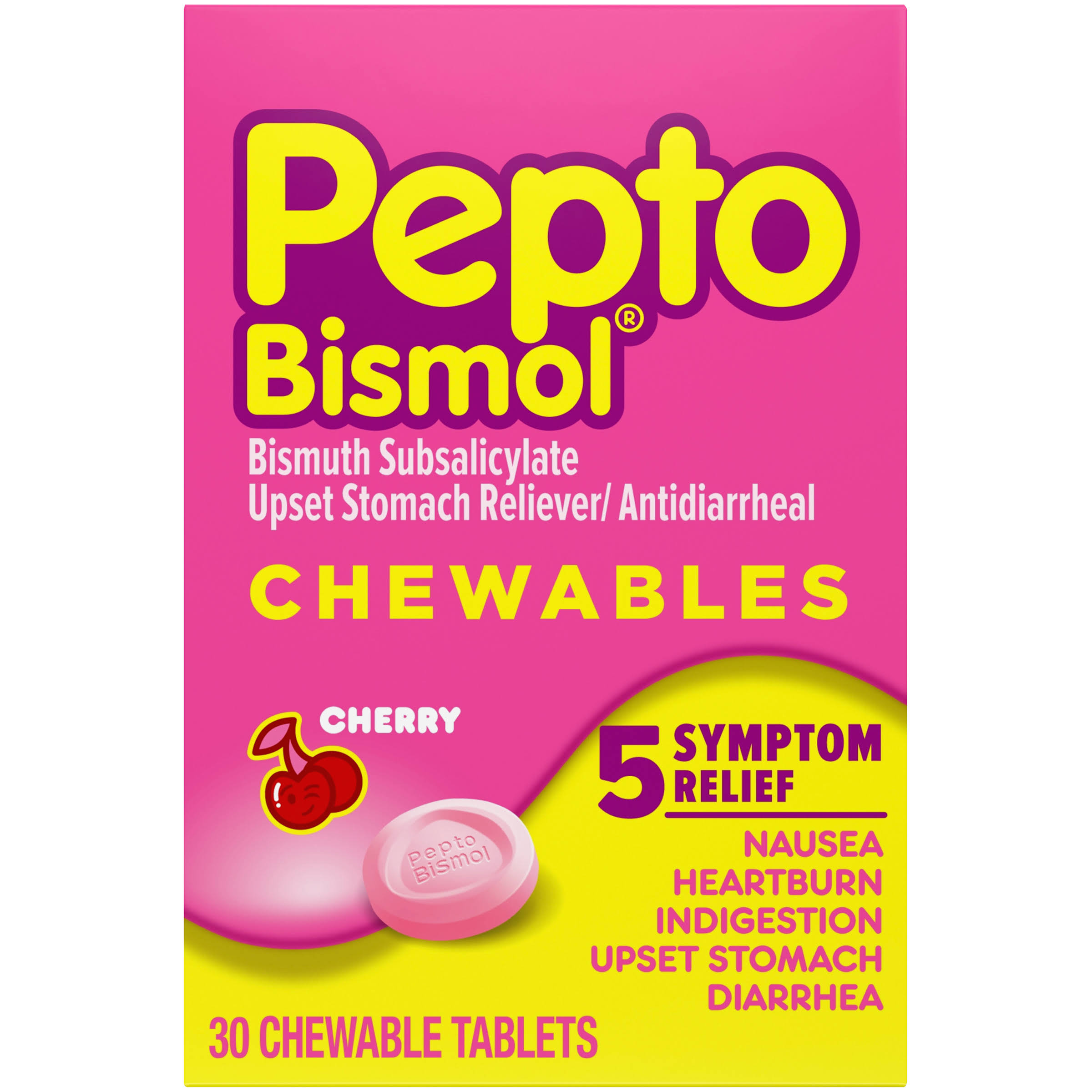 Pepto Bismol 5 Symptoms Digestive Relief Chewable Tablets - Cherry, 30ct