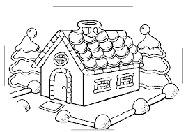Christmas Tree Gingerbread House Coloring Page