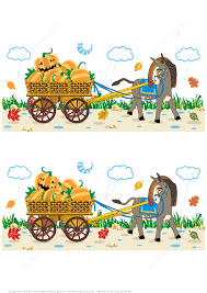 Hard Halloween Brain Teasers by Find 10 Differences Halloween Pictures Of Donkey Pulling A Cart
